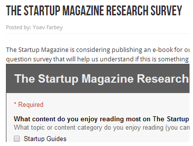 The Startup Magazine Research Survey