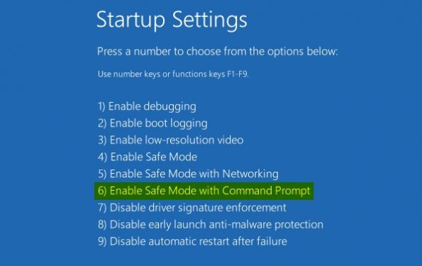 choose Safe Mode with Command Prompt
